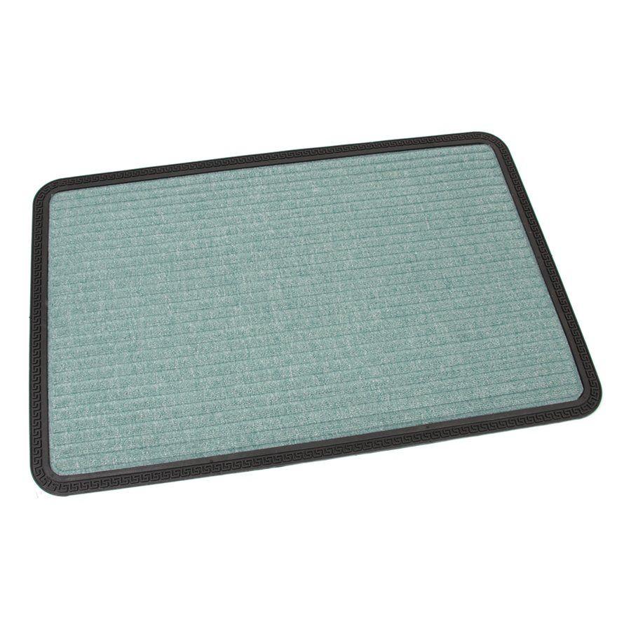 Zelená textilní vstupní venkovní čistící rohož Stripes, FLOMAT - délka 60 cm, šířka 90 cm a výška 0,8 cm