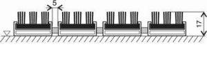 Černá hliníková vstupní venkovní kartáčová rohož Alu Super, FLOMAT - délka 100 cm, šířka 100 cm a výška 1,7 cm