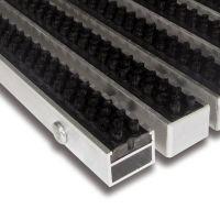 Černá hliníková čistící kartáčová venkovní vstupní rohož Alu Super - 100 x 100 x 2,7 cm