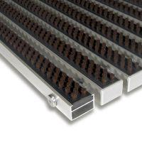 Hnědá hliníková čistící kartáčová venkovní vstupní rohož Alu Super - 100 x 100 x 2,2 cm