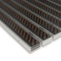 Hnědá hliníková čistící kartáčová venkovní vstupní rohož Alu Super - 100 x 100 x 1,7 cm