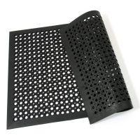 Černá gumová průmyslová protiúnavová protiskluzová olejivzdorná rohož (75% nitrilová pryž) Workmate, FLOMAT - délka 120 cm, šířka 80 cm a výška 1,4 cm