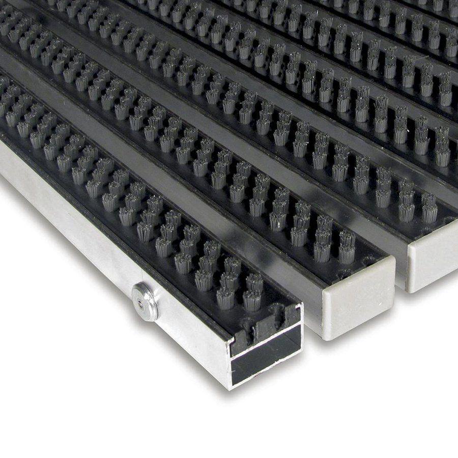 Šedá hliníková vstupní venkovní kartáčová rohož Alu Super, FLOMAT - délka 100 cm, šířka 100 cm a výška 2,2 cm