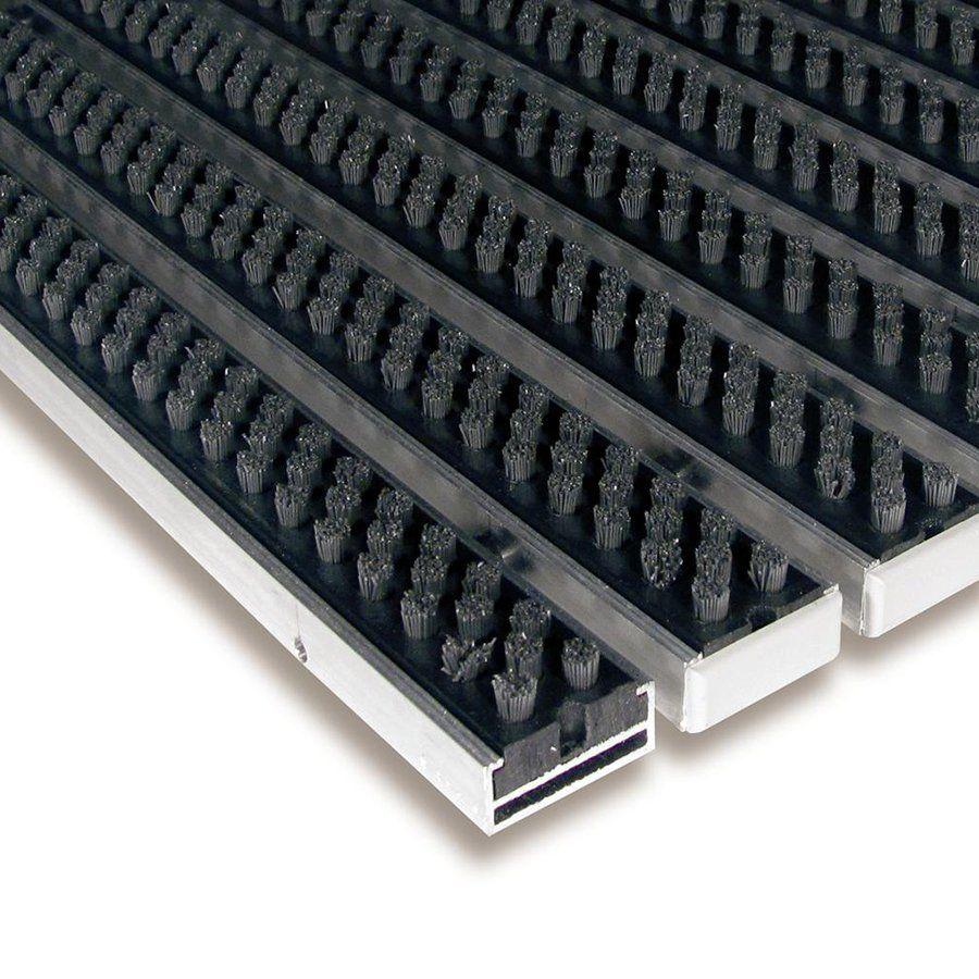 Šedá hliníková kartáčová venkovní vstupní rohož Alu Super, FLOMAT - délka 100 cm, šířka 100 cm a výška 1,7 cm